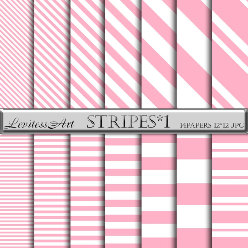 Pink And White Striped Digital Paper Baby Background Pink Etsy