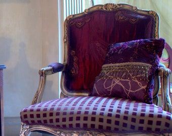 Upcycled Furniture, Upholstered Antique Chair, Purple and Green,Maxwell Fabrics, Velvet Fabric, By Jane Hall Design