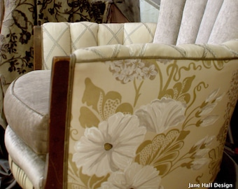 1930's, Upcycled Furniture, Upholstered Vintage Chair, Repurposed, in Lavender, Designers Guild Fabrics, By Jane Hall Design