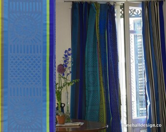"""Curtain Panels, 54""""x96"""", Designers Guild  Kasida Ocean """" Silk Satin Stripe in Lime Green and Sapphire Blue, From Jane Hall Design"""