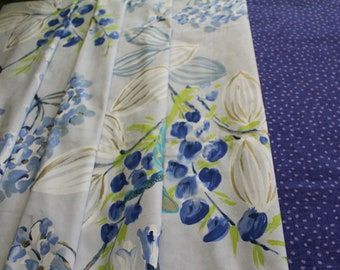 """Designers Guild, """"Kimono Blossom"""" Sapphire Blue and White, Printed Cotton Upholstery, Curtain Fabric, From Jane Hall Design"""