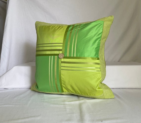 Midnight Blue Green Printed Linen and Cut Velvet Fabric Mauve Quilted Decorative Pillow Cover 20\u201dx 14\u201d Designers Guild Romantic Style