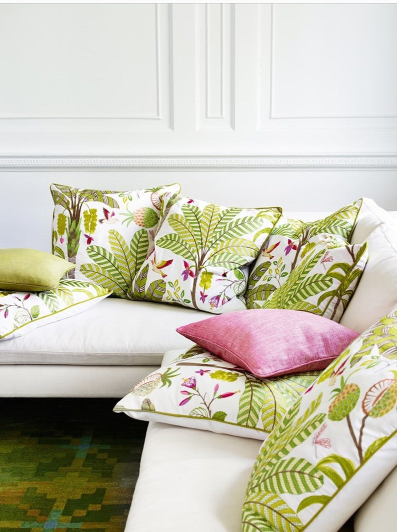 \u201cMaracatu\u201d Pink and Green Embroidered Banana Leaf On A Cotton Ground Jane Churchill Curtain Upholstery Fabric,Jane Hall Design
