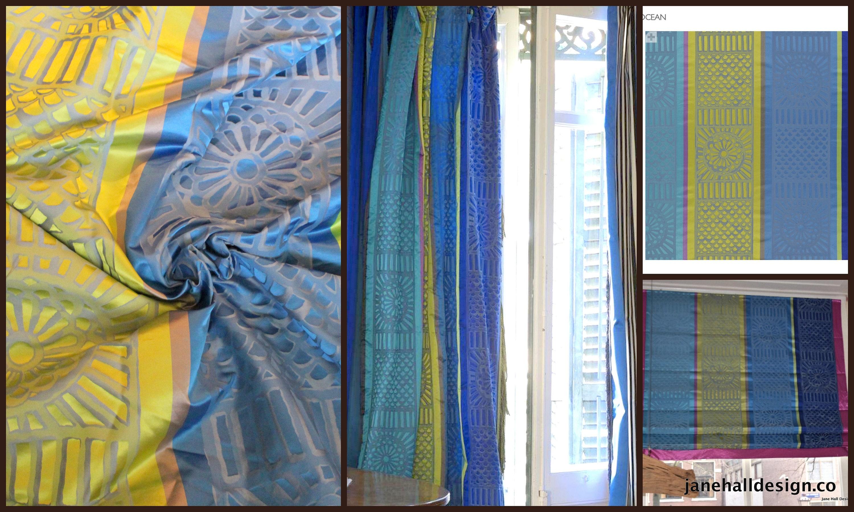 Designers Guild, «Kasida-océan» «Kasida-océan» «Kasida-océan» bleu de Cobalt, Lime Stripe rideau de soie tissu, de la conception de Jane Hall b4bb2a