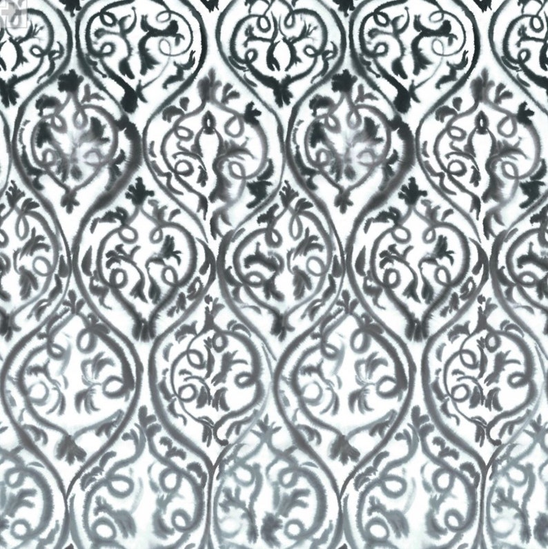 Designers Guild Fabric Arabesque Graphite  Grey White and Printed Cotton From Jane Hall Design Damask Pattern
