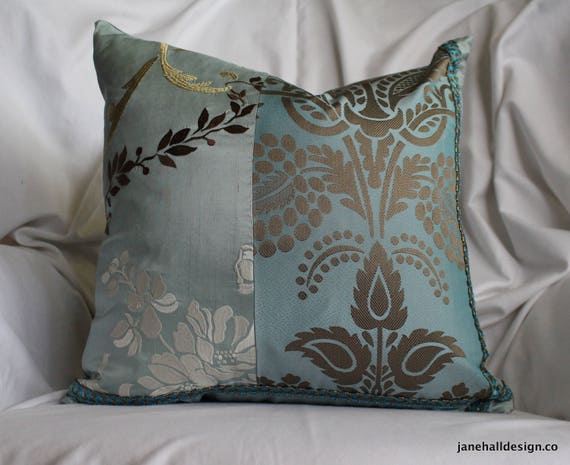 Velvet Fabrics Decorative Pillow Cover 18\u201dx 12\u201d Designers Guild By Jane Hall Design Plum Purple Beige