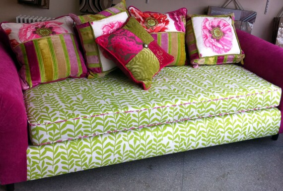 Upcycled Sofa Decorative Pillows Pink And Green Designers Etsy Magnificent Pink And Green Decorative Pillows