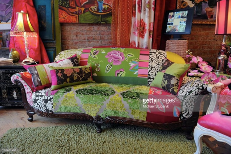 Boho Style, Upcycled, Upholstered, 1920s Vintage Sofa Repurposed in  Designers Guild Fabrics, by Jane Hall Design