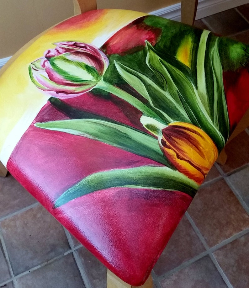 Dining Room Chair Seats InRed and Yellow by Jane Hall Design Hand Painted