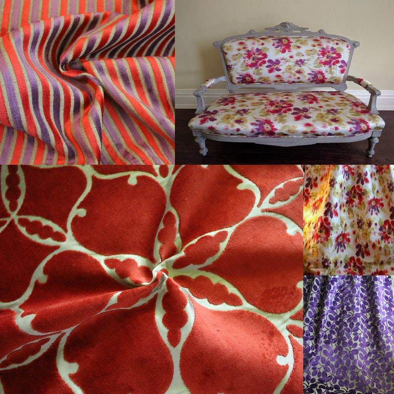 From Jane Hall Design Jab Beige and Red and Purple Pocket Weave Upholstery Fabric