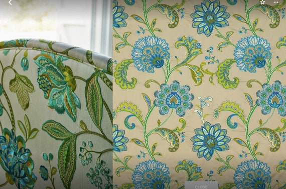 VoyageVintage Floral Green /& Purple Embroidered Curtain Upholstery Fabric