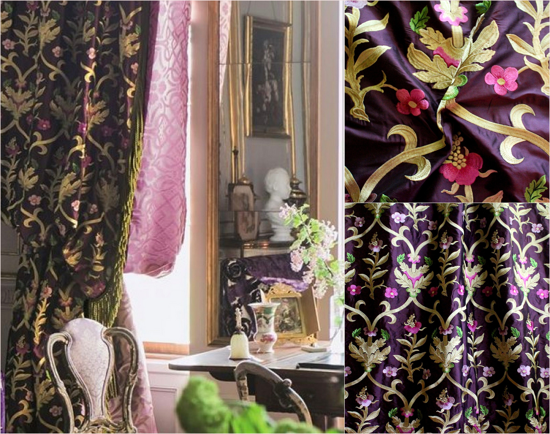 Designers Designers Designers Guild tissus «Norfolk améthyste», brodé Satin de soie, Rideau, tissu d'ameublement, de la conception de Jane Hall 93fda4
