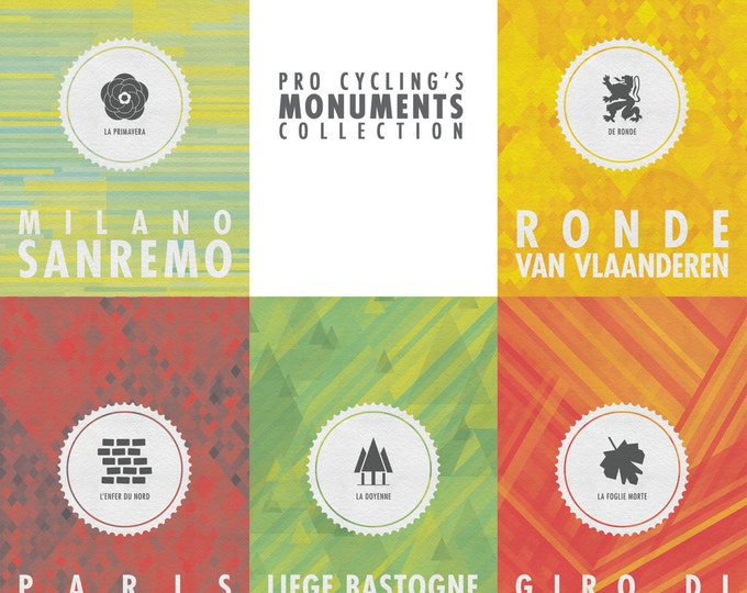 Featured listing image: All 5 Cycling Monuments Posters