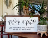 Welcome To The Patio Porch Decor Deck Patio Sign Handlettered Faux Frame Porch Board Wood Rustic Funny Sign