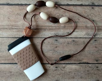 Coffee Sensory Necklace ~ Silicone Chew Necklace ~ Silicone Teething Necklace for Mom ~ Nursing Necklace ~ Silicone Teether ~ 26 inches