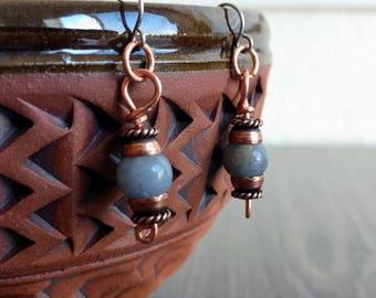 Blue Aventurine Copper Earrings - Stainless Steel Ear Wire