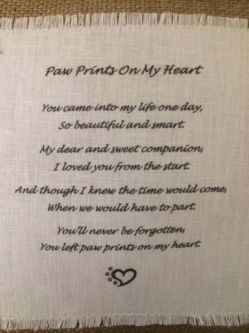 Pet Memorial Pillow Paw Prints On My Heart Poem   Etsy