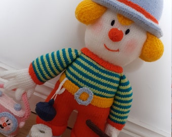 Patrick the Plumber hand knitted clown with plunger, radio & plug!