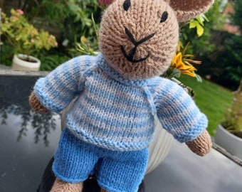 Bumper the Bunny Rabbit Hand Knitted Toy