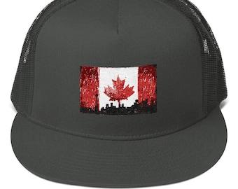76664820c807f6 Canada Flag Toronto Pride Mesh Back Snapback. Distressed Canadian Patriot  Flag polyester mesh back cap. City of Toronto Canada Hat.