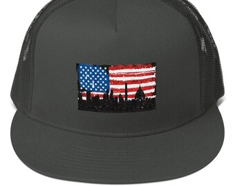 399c1892c02a9 USA Flag Washington DC Distressed Mesh Back Snapback. United States  Capitol. Washington Monument Trucker Hat. Distressed American Flag Cap.