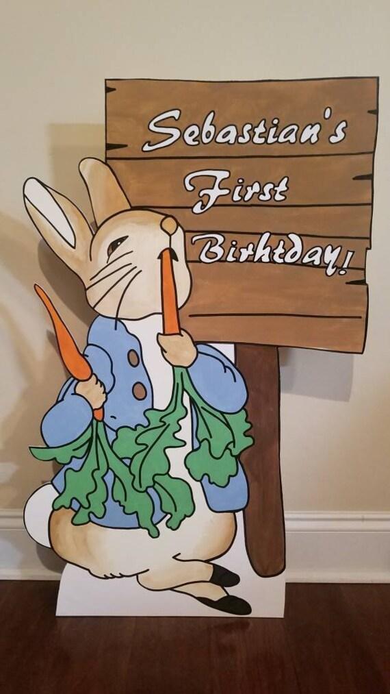 Conjunto de 4 Azul Floral Beatrix Potter Peter Conejo Grande Fiesta Decoración flechas