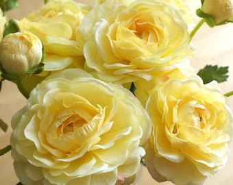 Yellow Ranunculus (FB0055-06) | silk flower – artificial flower – flower crown – headpiece – decoration – home decor – centerpieces – home