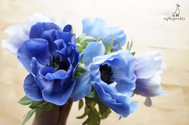 FB0084-02 Blue Anemone silk flower \u2013 headpiece \u2013 blue wedding d\u00e9cor \u2013 bouquet \u2013 blue home decor \u2013 blue flower wreath \u2013 blue centrepiece