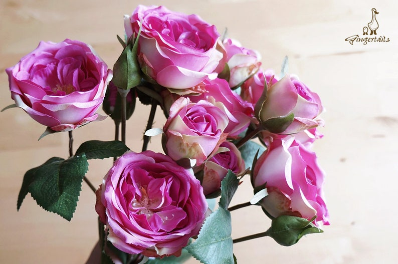 artificial flower \u2013 headpiece \u2013 bouquet \u2013 flower crown \u2013 decoration \u2013 corsage \u2013 millinery \u2013 home living FB0067-01 Hot Pink Garden Rose