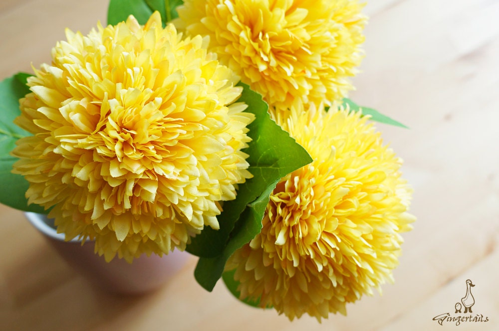 Yellow ball chrysanthemum fb0020 03 artificial flower etsy zoom mightylinksfo
