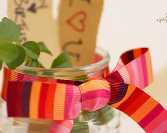 "CLEARANCE – 50% OFF – was USD 4.76 – Pink, Red, Orange Striped Ribbon 3/4"" (RD0001-02-034) 
