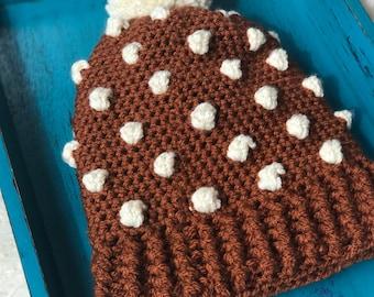 Crocheted Bobble Beanie - Rust and Cream