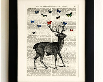 Stag Deer Red Butterfly Art Print Antqiue Book Page Vintage Christmas Gift