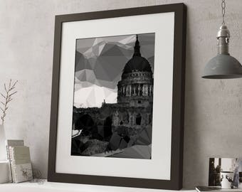 "LARGE 20""x16"" FRAMED Low Poly London Print, Geometric, Black and White Print, Black or White Frame/Mount, St Paul's Cathedral"