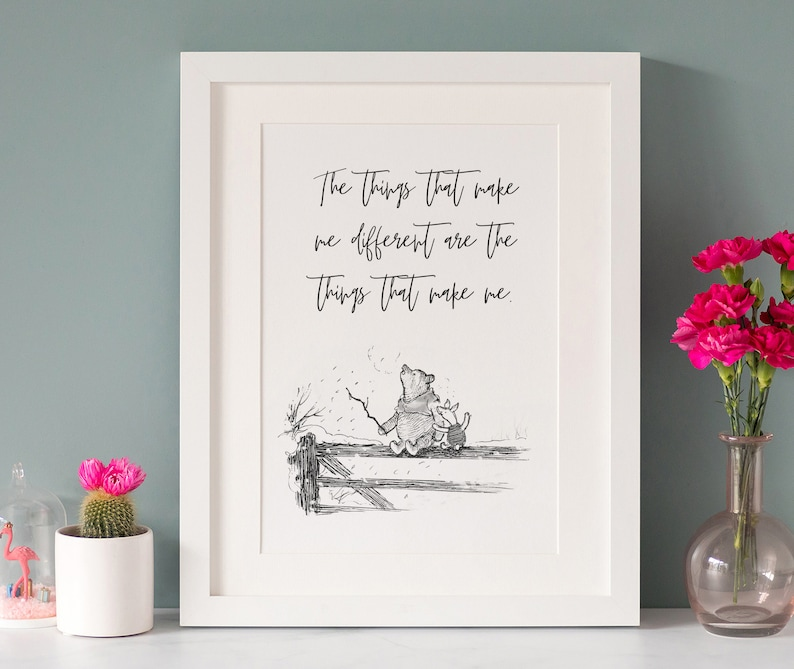 winnie the pooh quote print a4 black and white monotone  etsy