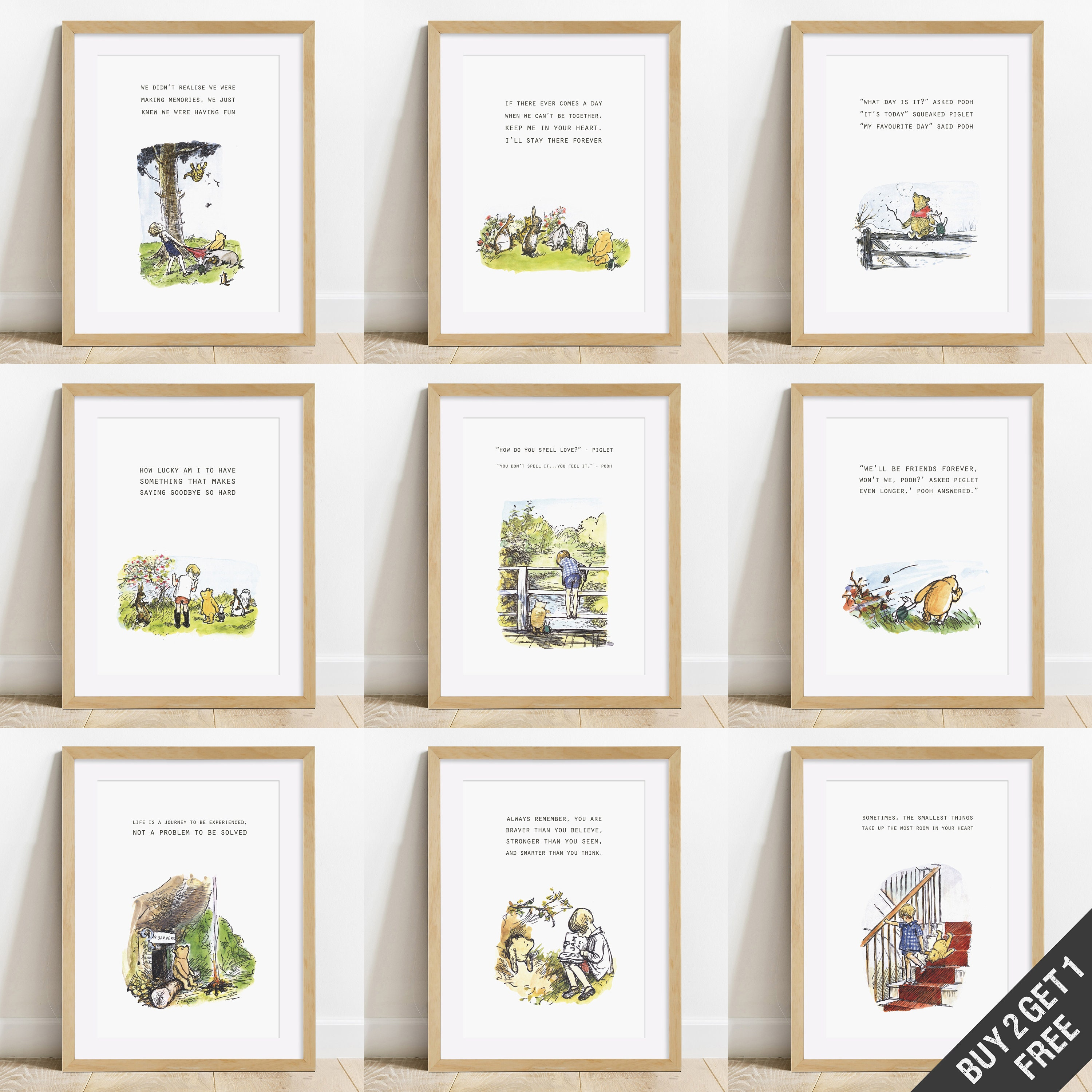 winnie the pooh quote prints 3for2 5for3 a4 bedroom  etsy