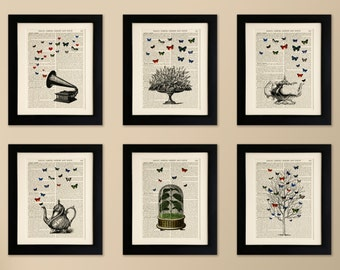Set of 6 FRAMED Art Prints on old antique book page - Butterflies, Teapots, Gramaphone, Vintage Wall Art,  Encyclopaedia Dictionary Page