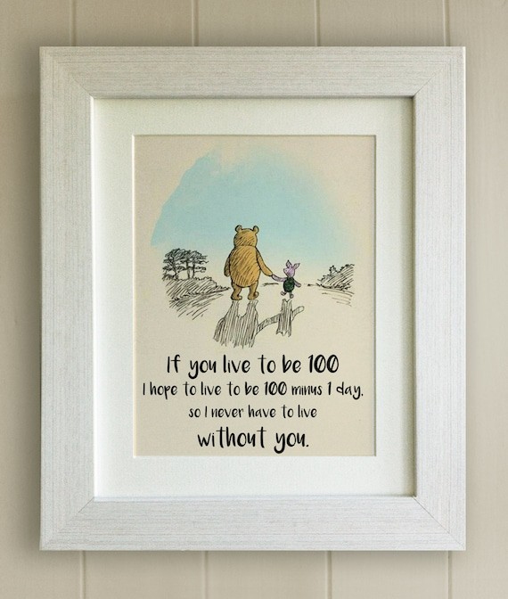 Framed Winnie The Pooh Quote Print New Babybirth Nursery Etsy