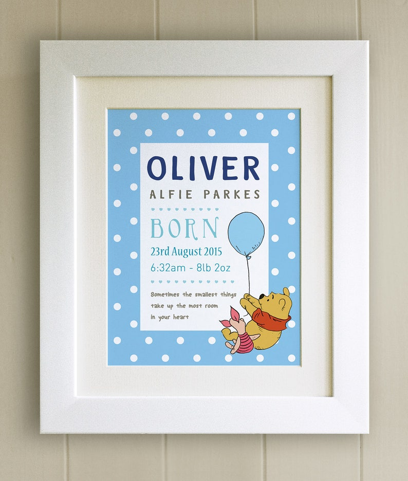 New Baby//Birth Nursery Picture Gift Bear Winnie the Pooh FRAMED QUOTE PRINT