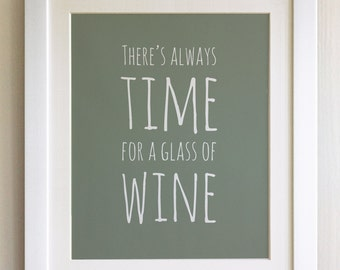 "FRAMED QUOTE PRINT, There's always time for a glass of Wine, Framed or just print, black or white frame, 12""x10"""