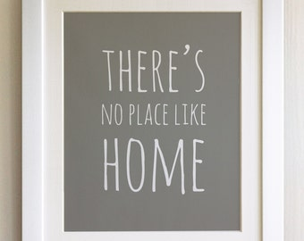"FRAMED QUOTE PRINT, Theres's no place like Home, Wizard of Oz, Framed or just print, black or white frame, 12""x10"", New home gift"