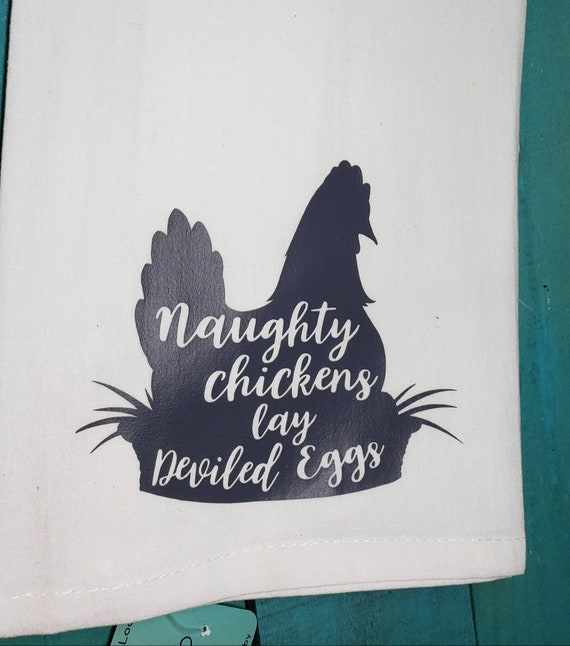 Naughty Chickens Lay Deviled Eggs Funny Towel Gift Idea Etsy