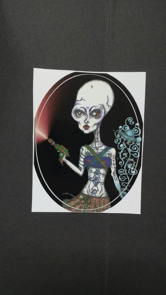 Sticker- Alien Laser Babe deluxe mini adhesive art print waterproof high quality vinyl