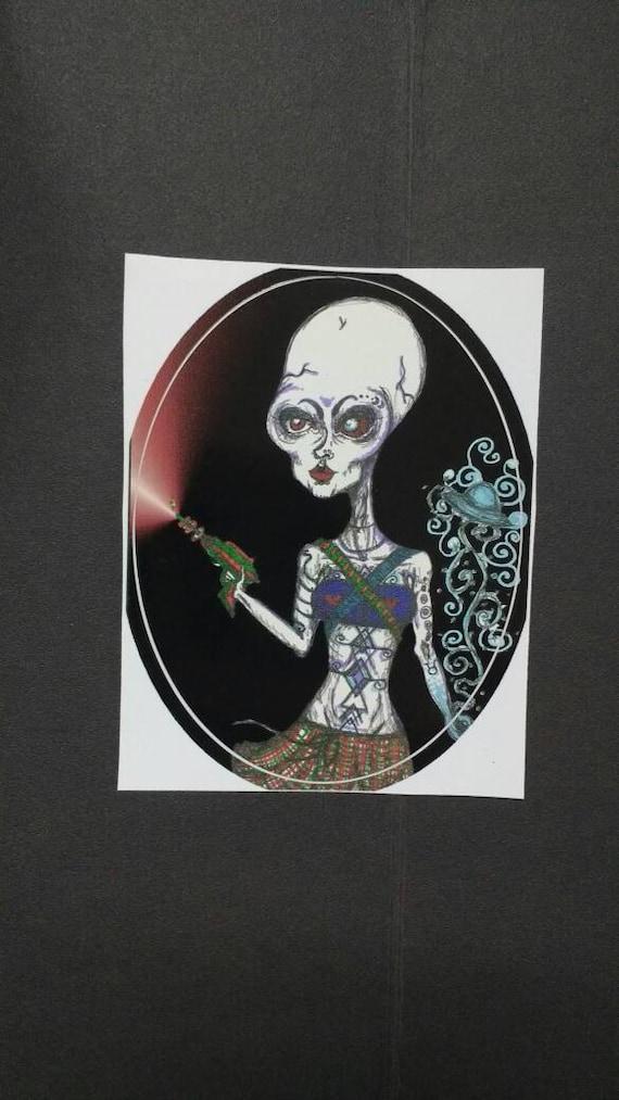 Sticker- Alien Laser Babe deluxe mini adhesive art print waterproof high quality vinyl