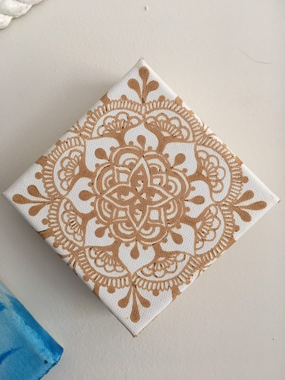 Henna Mandala on 4x4in tiny canvas
