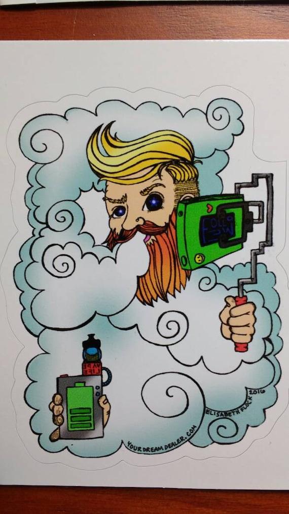 Hipster Vaping Selfie Sticker high quality adhesive mini art print on white vinyl