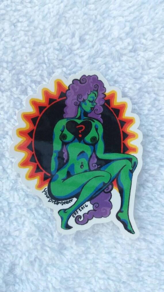 Sticker- Sexy Green Sun Goddess Deluxe Vinyl mini adhesive art print