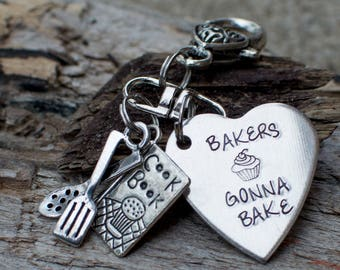 Baker Gift - Gift for Baker - Bake - Baking Charms - Key Chain - Bakers Gonna Bake - Baker Jewelry - Cupcake Jewelry - cook Book Jewelry