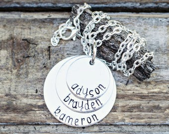 Mother's Personalized Name Necklace for mom handstamped names on necklace gifts for mom