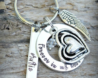 In remembrance Forever In My Heart Keychain Loss of Husband loved one Brother Child  Mommy of an angel too beautiful for earth in loving